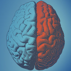Illustration of a brain with red and blue background for JAMA