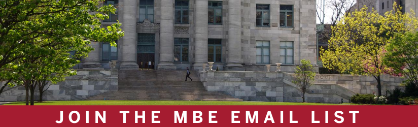 Harvard Medical School campus, sign-up for MBE emails.