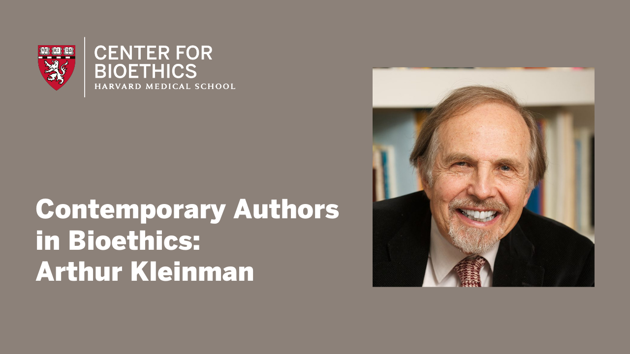 Arthur Kleinman headshot on a brown background with Center for Bioethics Logo